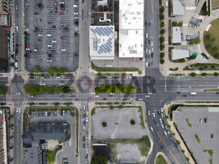 Aerial top view of Nashville downtown street, Tennessee. USA