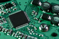 Processor chip on computer mainboard