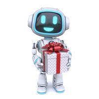 Cute blue robot giving git box 3D