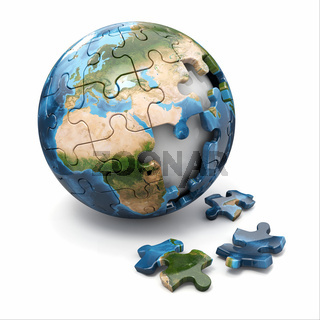 Concept of Globalization. Earth puzzle on white background. Source of map: http://visibleearth.nasa.gov/view.php?id=73801  NASA Terms of Use  For all non-private uses