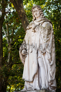 Close-up on the statue of Montesquieu in the park of the Place des Quinconces in Bordeaux