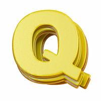 Yellow font Letter Q 3D