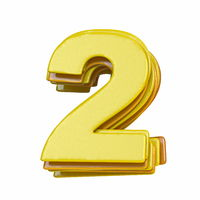 Yellow font Number 2 TWO 3D