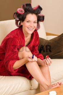 Home beauty woman manicure polish nails