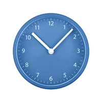 Blue wall clock face isolated on white
