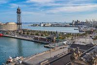 Barcelona Spain, high angle view city skyline at port of Barcelona
