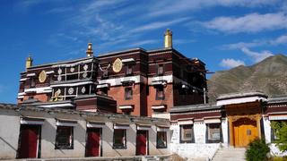 Landmark of a historic Tibetan lamasery in South Gansu