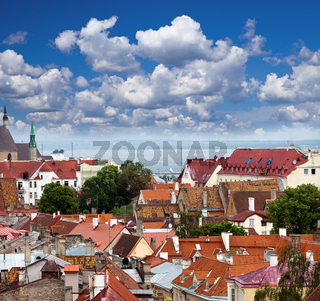 View of Old city's roofs. Tallinn. Estonia.