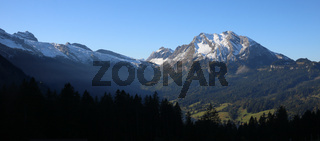 Snow capped mountain Fluebrig and other mountains in Schwyz Canton.