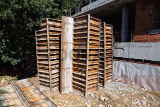 Steel formwork on construction site