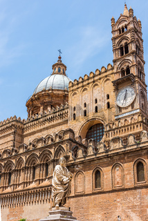 Statue facing Palermo Cathedral, Sicily