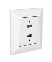White wall socket with USB charging ports