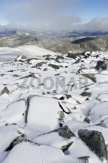Blick vom Berg Storstyggesvanatinden ueber den Dovrefjell-Sunndalsfjella Nationalpark, Oppland