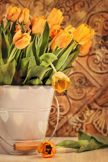 Tulips with vintage grunge background