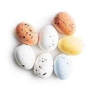 Chocolate easter eggs. Sweet candy eggs.