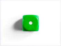 Number 1 on green dice. White background.