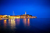 Town of Rovinj evening blue hour view