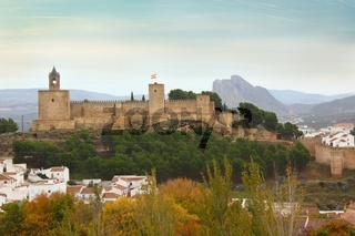 Landscape of Alcazaba of Antequera with mountain Pena de los Enamorados in Spain