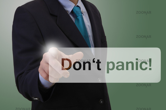 Geschäftsmann berührt touchscreen - Don't Panic