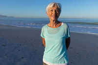 Senior Caucasian woman enjoying time at the beach