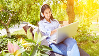Geschäftsfrau arbeitet im Garten am Laptop Computer
