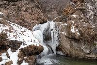 Partially frozen honey falls in January