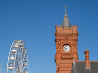 Top of Big Wheel and Pierhead Building Clock Tower at Cardiff Bay Mermaid Quay