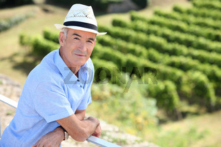 senior visiting a vineyard