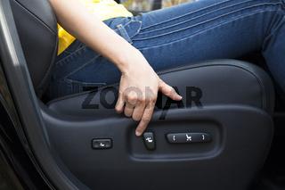 Electric seat adjustment of car