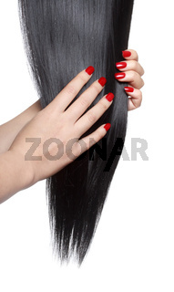 Long straight black hair