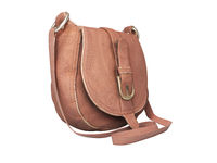 Leather old women bag over the shoulder 3d rendering on white background no shadow