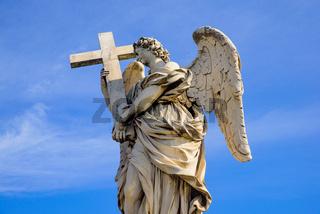 Statue of angel on Ponte Sant'Angelo, a Roman bridge in Rome, Italy