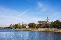 Krakow City Skyline From Vistula River