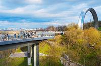 Pedestrian-Bicycle Bridge people Kiev