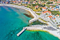 Island of Vir beach and waterfront aerial view