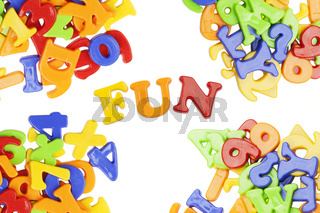 Fun lettering near plastic alphabet letters