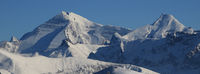 Mountain ranges of the Bernese Oberland in winter. Altels, Balmhorn and other high mountains.