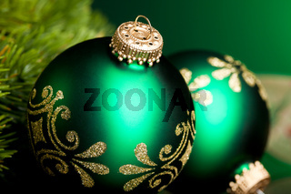 branch of Christmas tree with festive ball