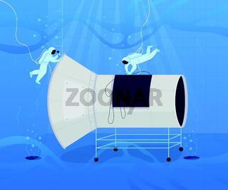 Underwater astronaut training flat color vector illustration