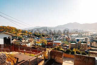 Panoramic view of Miryang city from Moonlight Ssamji park at autumn in Miryang, Korea