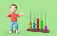 Young 3D Cartoon Character and Abacus on Green Background with Copy Space