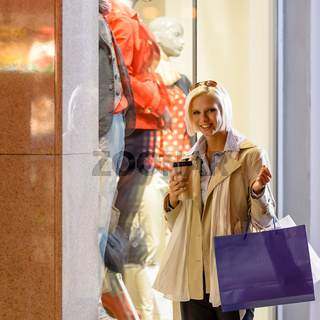 Woman shopping bags enjoy evening city