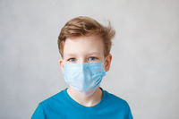 Little boy wearing a mask against corona virus covid-19, 2019-nCov. Kid in a surgical bandage or respirator during corona virus and flu outbreak. Child in a medical mask. quarantine.