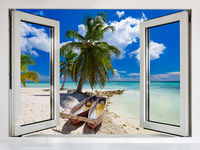 view from an open window to the Caribbean sea