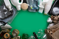 Recycling garbage as metal, plastic and glass, paper