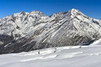 Winterlicher Gipfelkranz mit Fletschhorn, Lagginhorn und Weissmies Gipfel,Saas-Fee, Wallis, Schweiz
