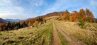 Autumn Carpathian Mountains and dirty countryside path, Ukraine.