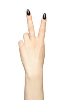 Female hand with black nails manicure isolated on white background. Fingers in the shape of a victory sign.