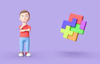 Young 3D Cartoon Character and Blocks Combined on Purple Background