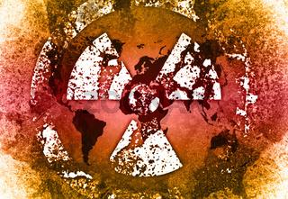 Grunge Look nuklear Landkarte